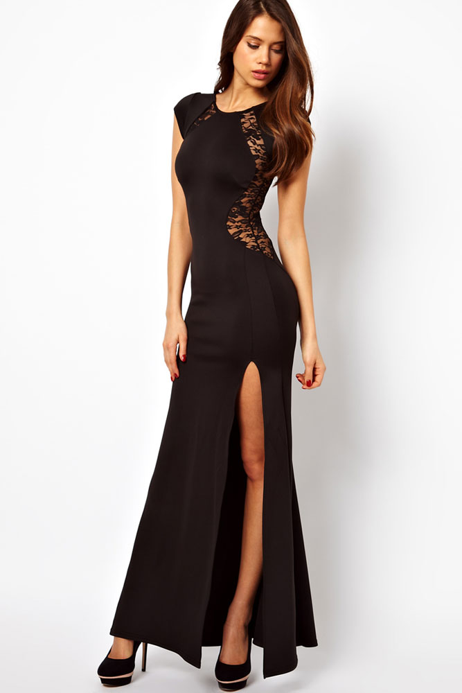 Maxi Dress with Lace Back and Fishtail 0 one size LC6137 - Maxi-Dress-with-Lace-Back-and-Fishtail-0-one-size-LC6137