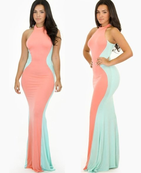 colorblock peach mint summer mermaid maxi dress 2015 gojane1 - 6 модных трендов от Принцессы Дианы, актуальных сегодня